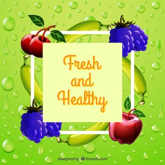 Colored background with drops and fruits in realistic design