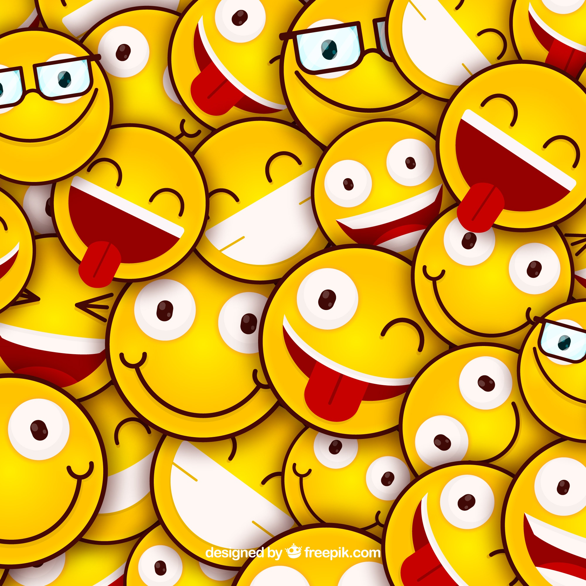 Colored background with emoticons in flat design