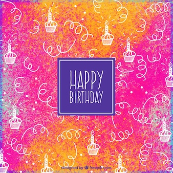 Colored background with hand-drawn birthday cupcakes