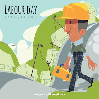 Colored background with worker in hand-drawn style