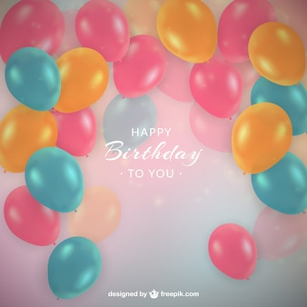 Colored balloons birthday background in realistic style
