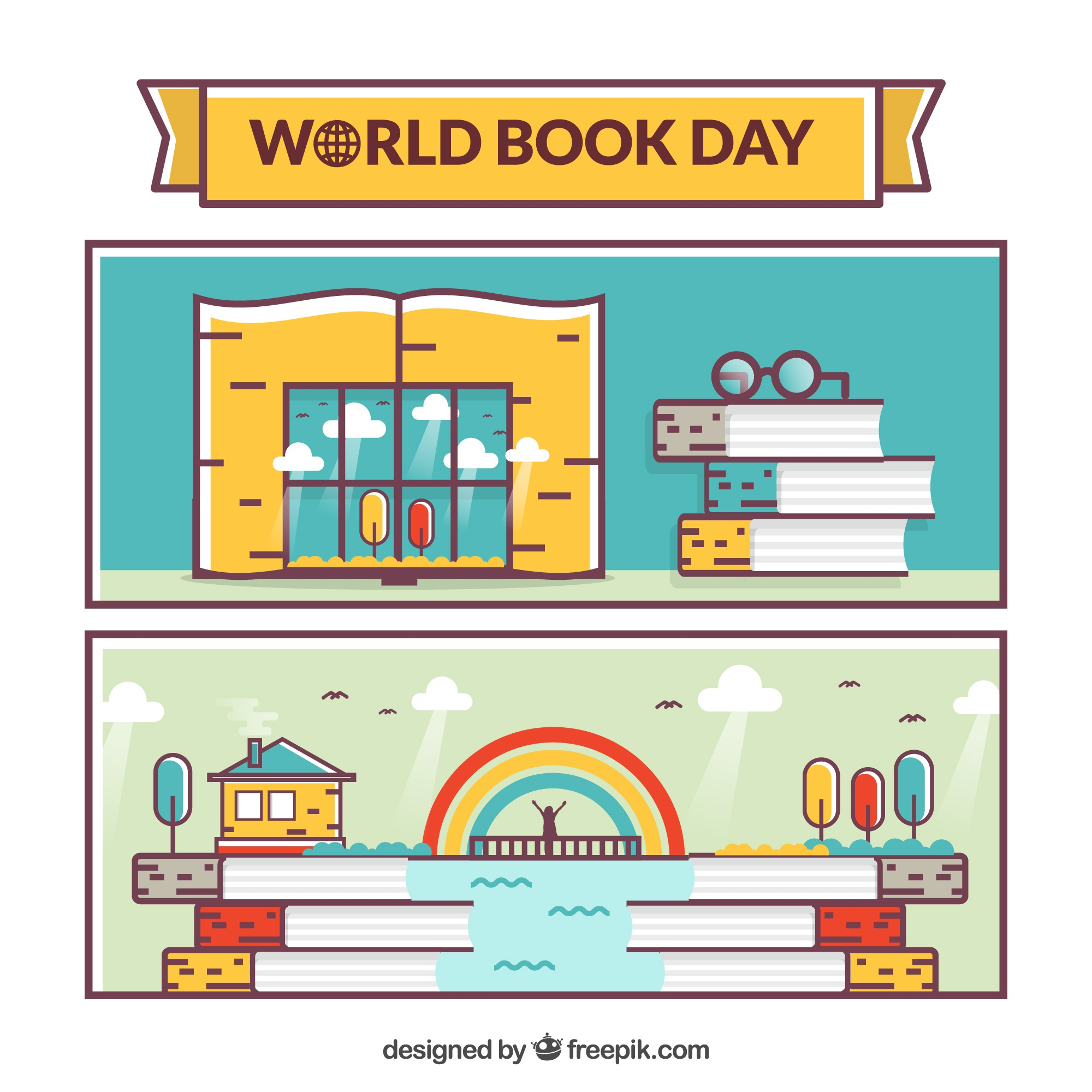 Colored banners for world book day in flat design