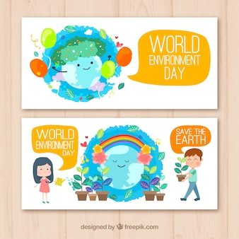 Colored banners with cute planet earth and plants