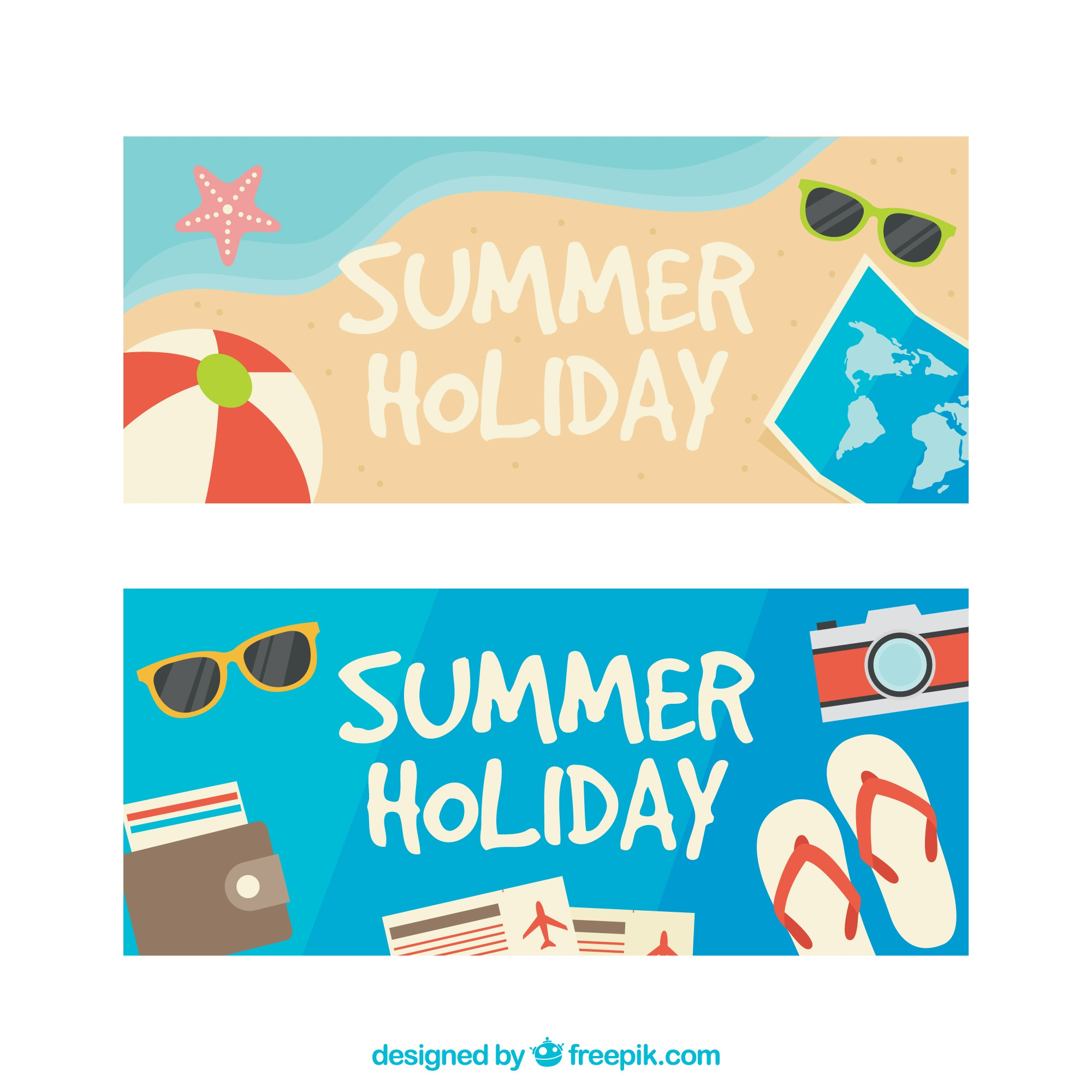 Colored banners with decorative summer items
