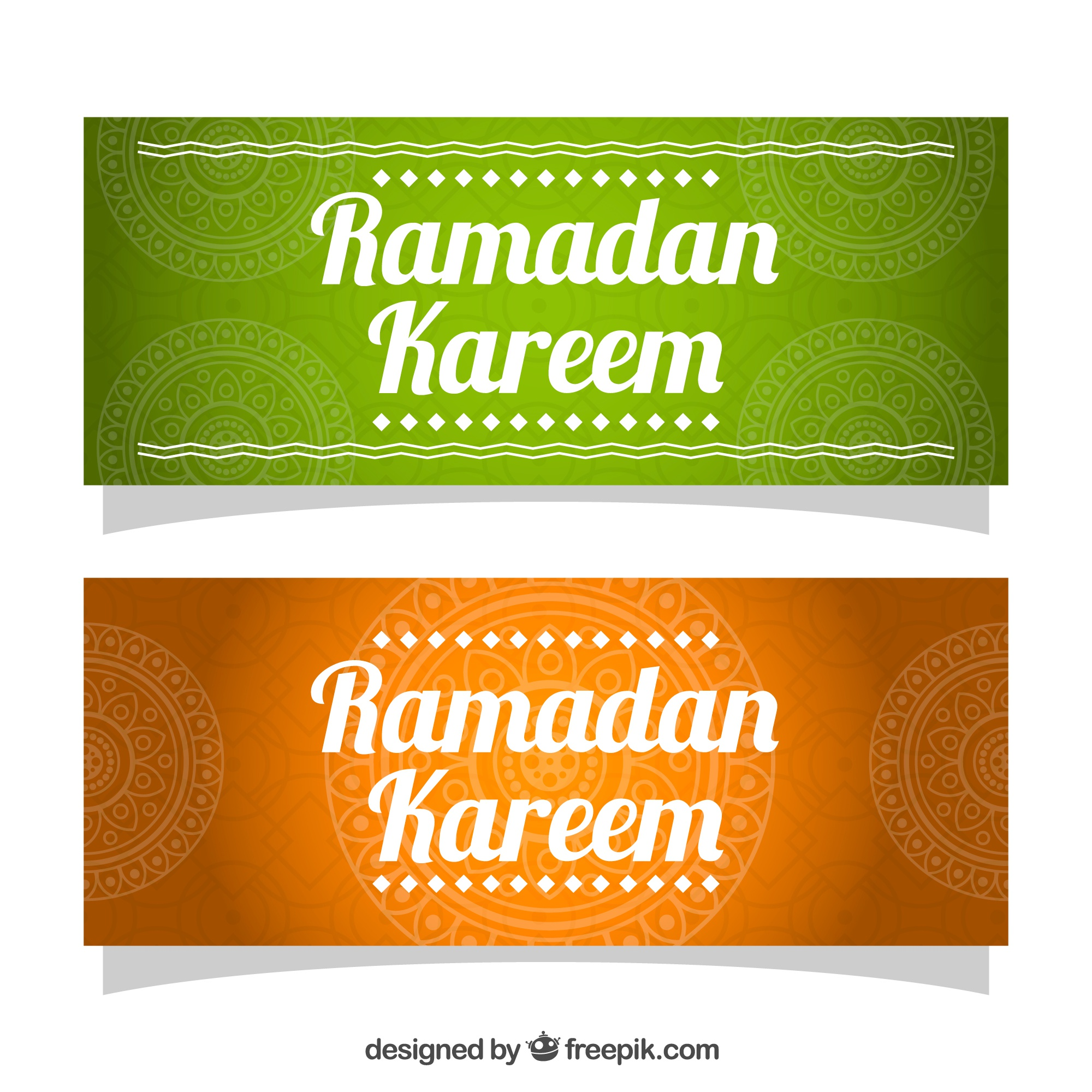 Colored banners with ornamental decoration for ramadan
