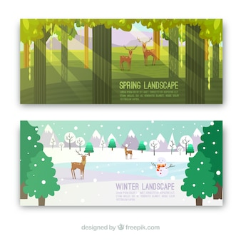 Colored banners with spring and winter landscapes