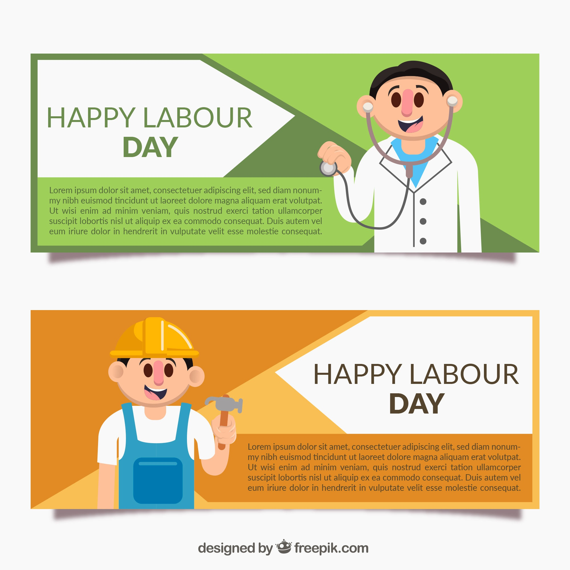Colored banners with workers for labour day