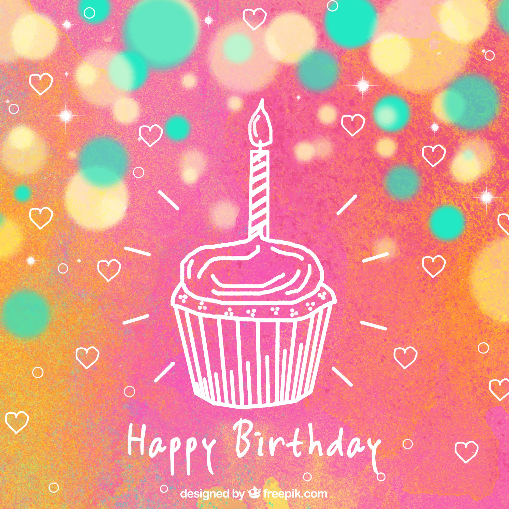 Colored birthday background with hearts and cupcake