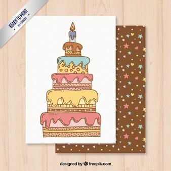 色付き誕生日ケーキカード