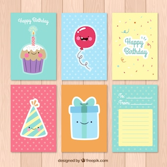 Colored birthday cards collection