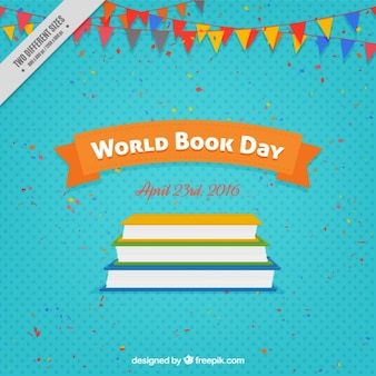 Colored books and garlands background