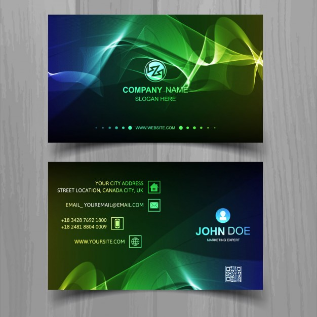 Colored bright waves business card