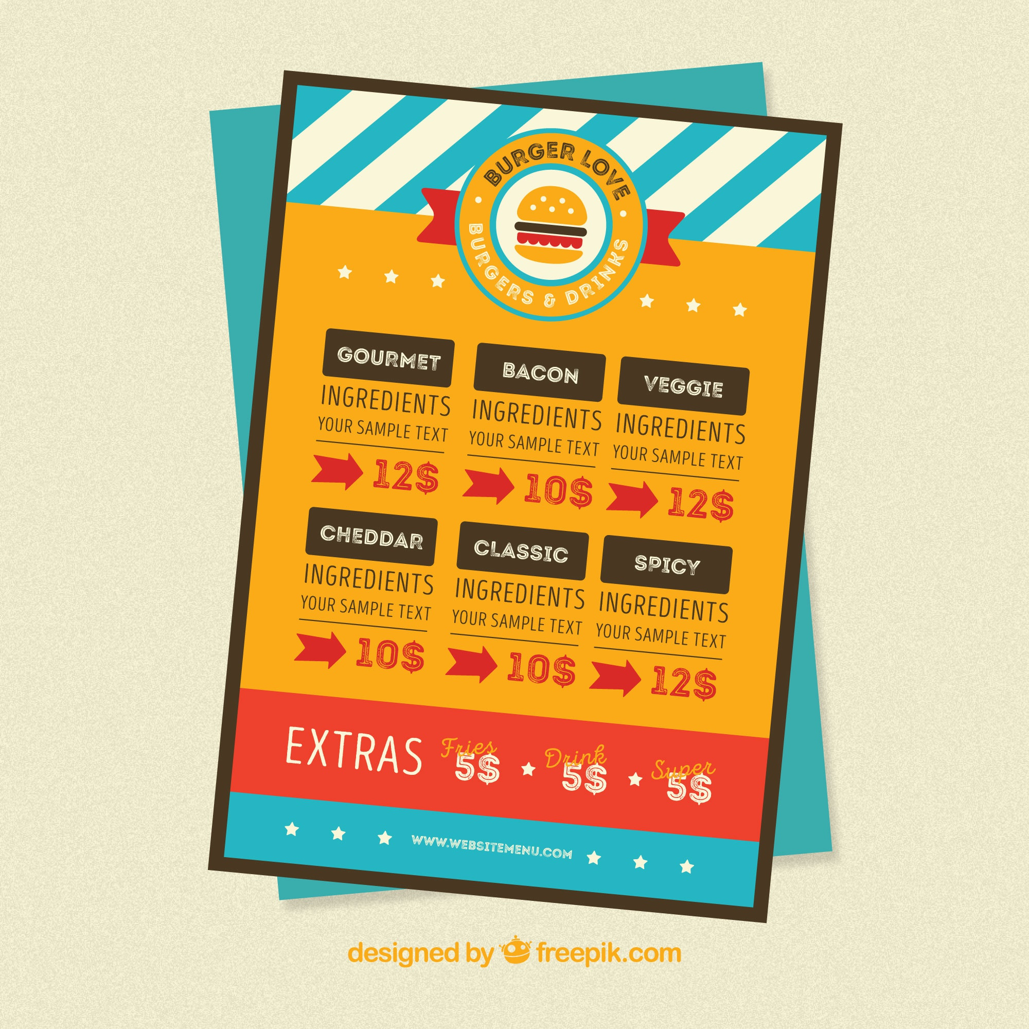 Colored burger menu template in flat design