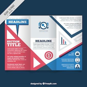 フラットなデザインで着色された事業のパンフレット
