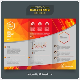 Colored business brochure with geometric forms