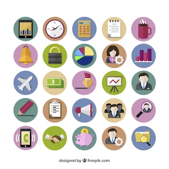 Colored business icons