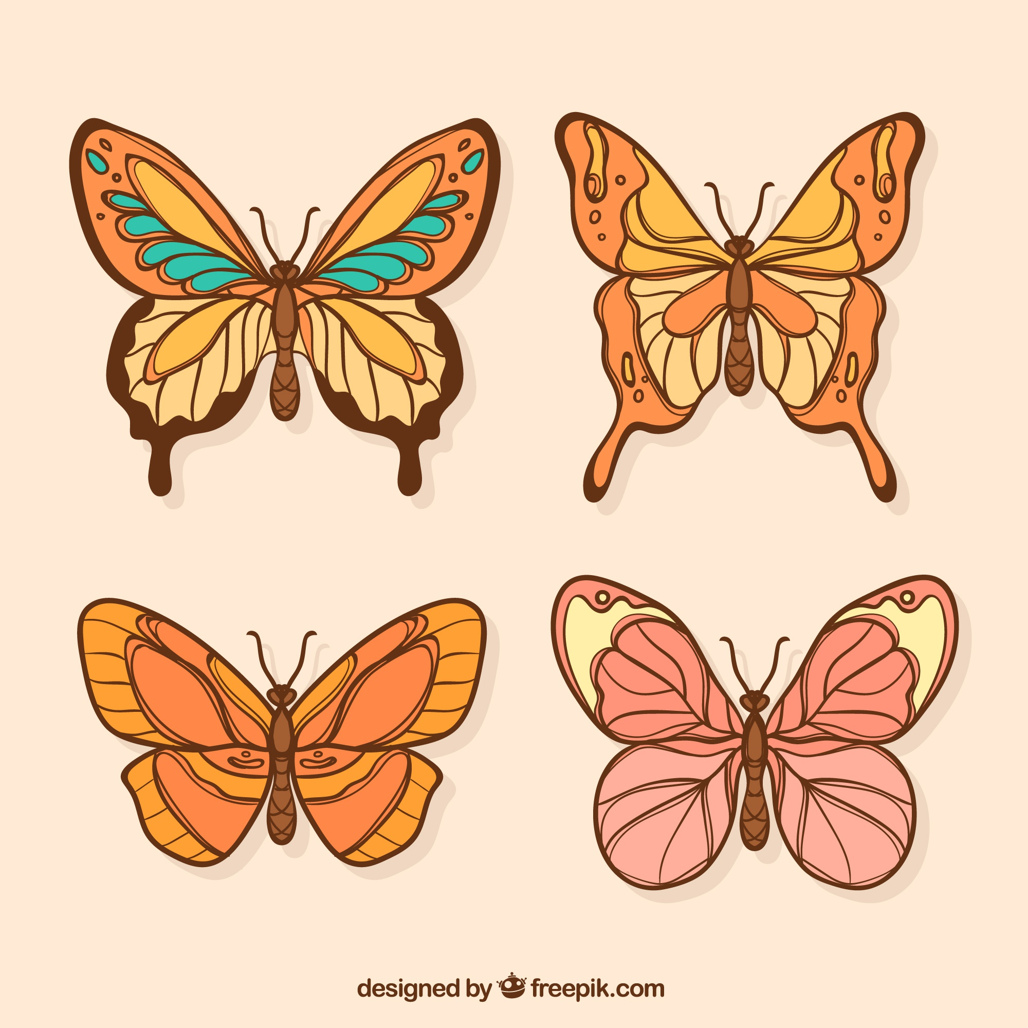 Colored butterflies with variety of designs