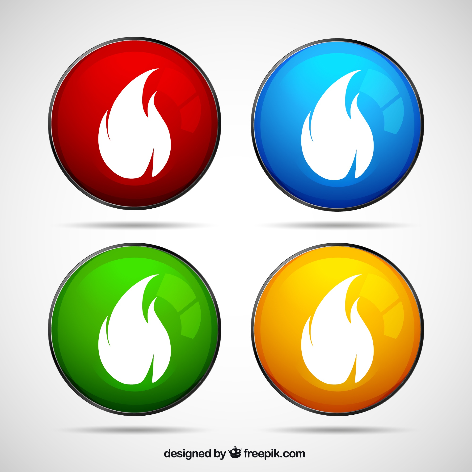 Colored buttons with fire flames