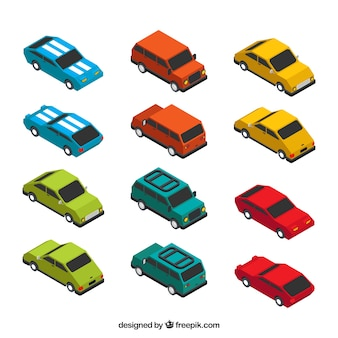 Colored cars pack in isometric style