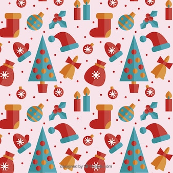 Colored christmas pattern in flat design