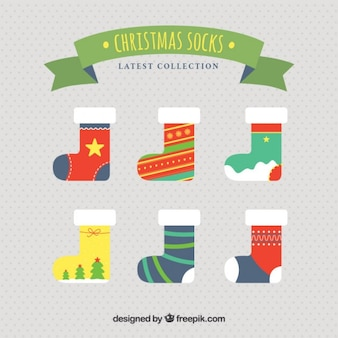 Colored christmas socks collection