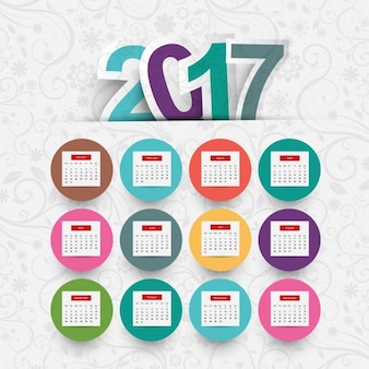 Colored circles 2017 calendar