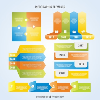 Colored collection of flat elements for infographics