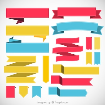 Colored collection of retro ribbons