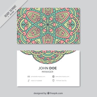 Colored corporate card with ornamental decoration