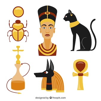 Colored egypt culture elements