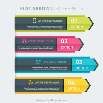 Colored flat arrow infographic templates