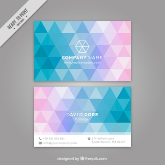 Colored flat triangles business card
