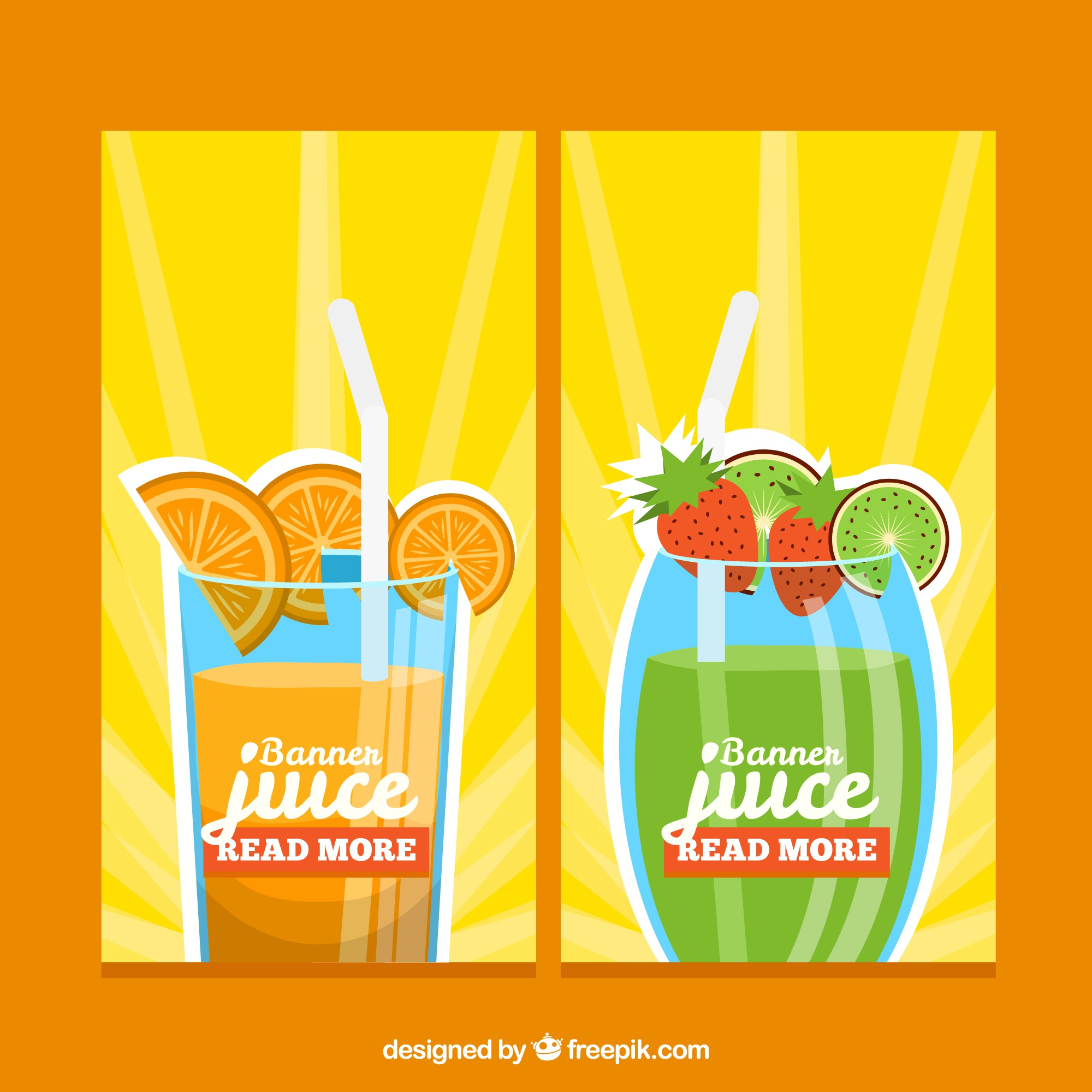 Colored fruit juice banners