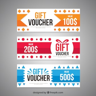 Colored gift vouchers
