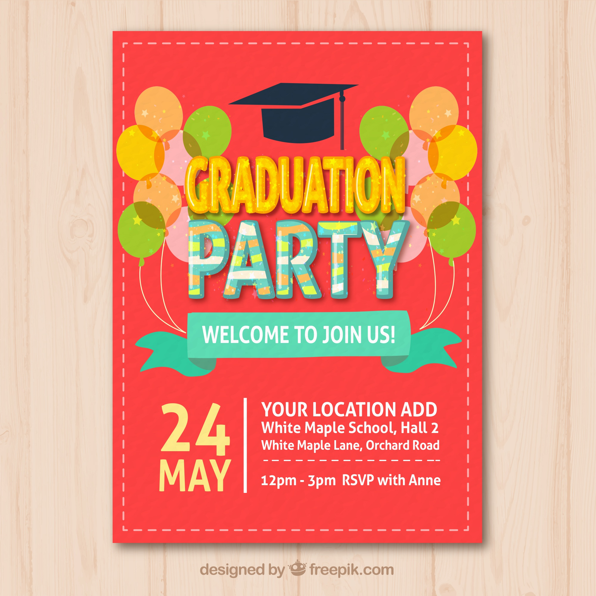 Colored graduation party leaflet with decorative balloons