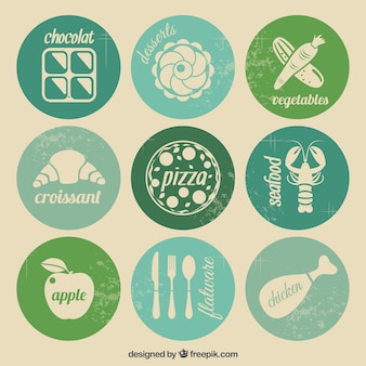 Colored grunge food icons