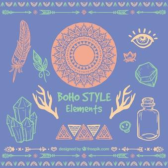 Colored hand drawn boho elements