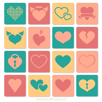 Colored heart icons