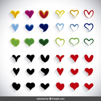 Colored hearts collection