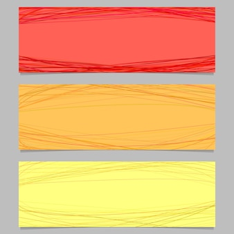 Colored horizontal banner design set - vector graphic with random curves