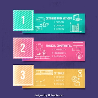 Colored infographic banners with hand-drawn items