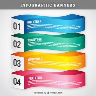 Colored infographic banners