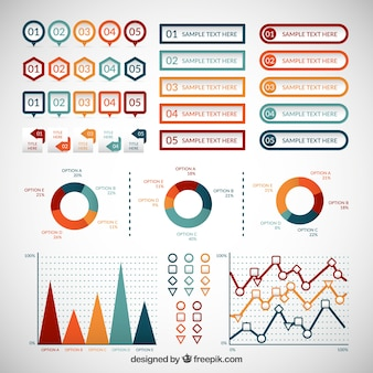 Colored infographic elements