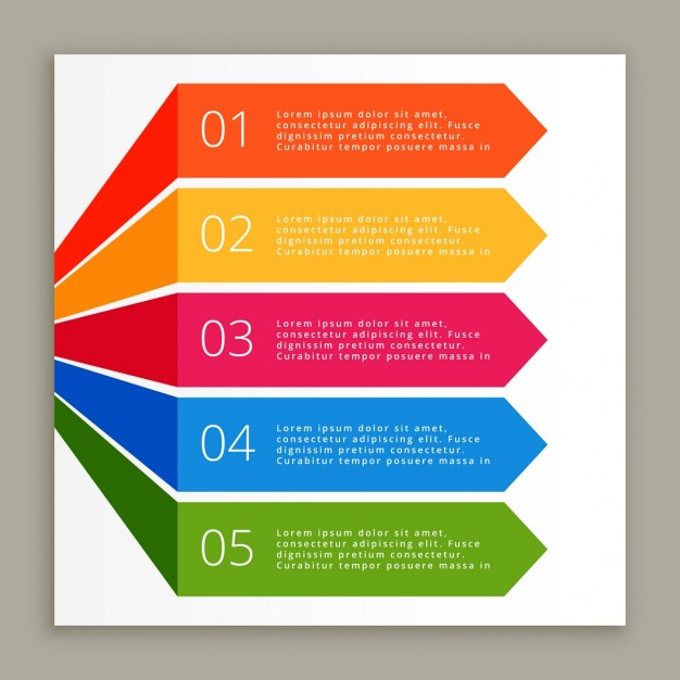 Colored infographic steps banners