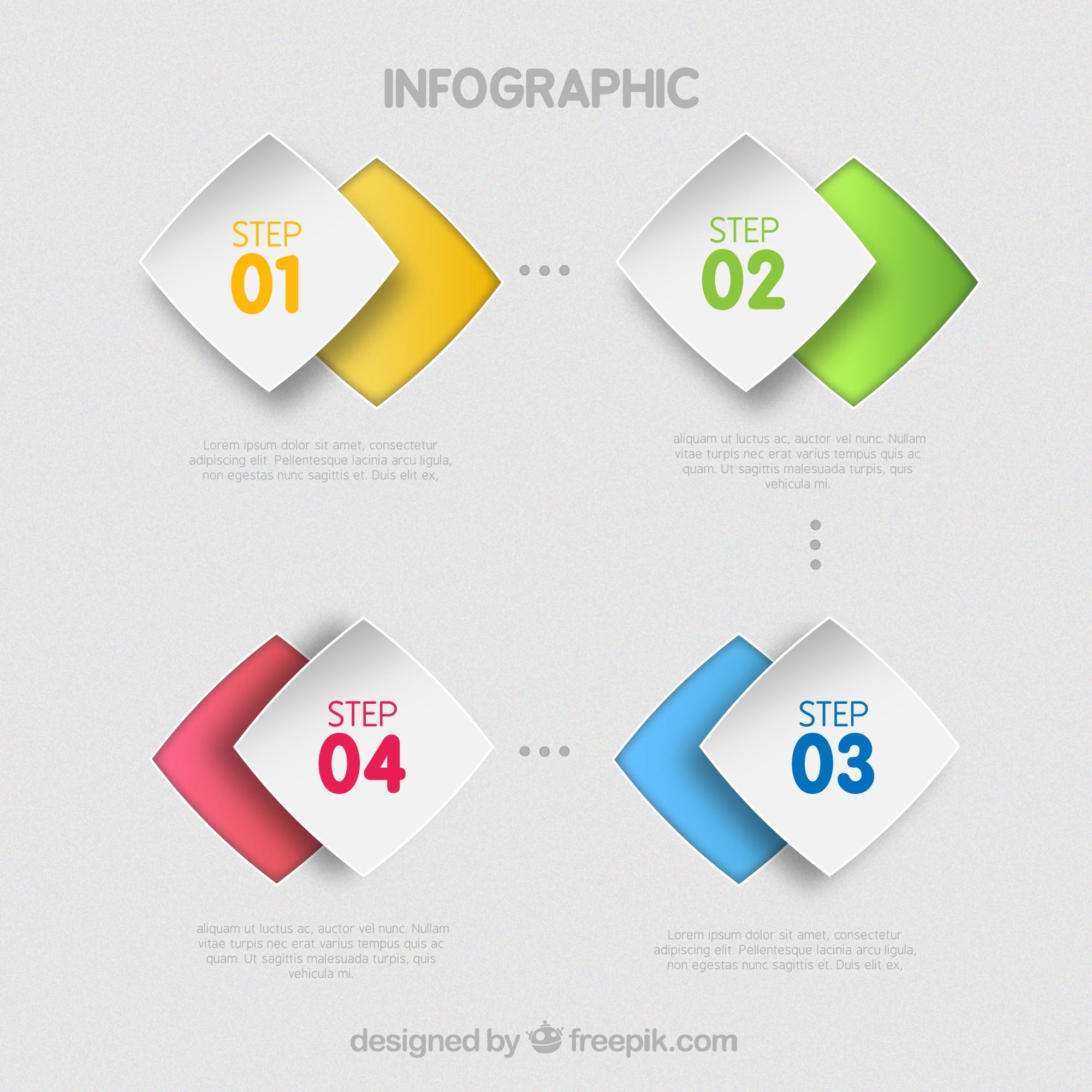 Colored infographic steps