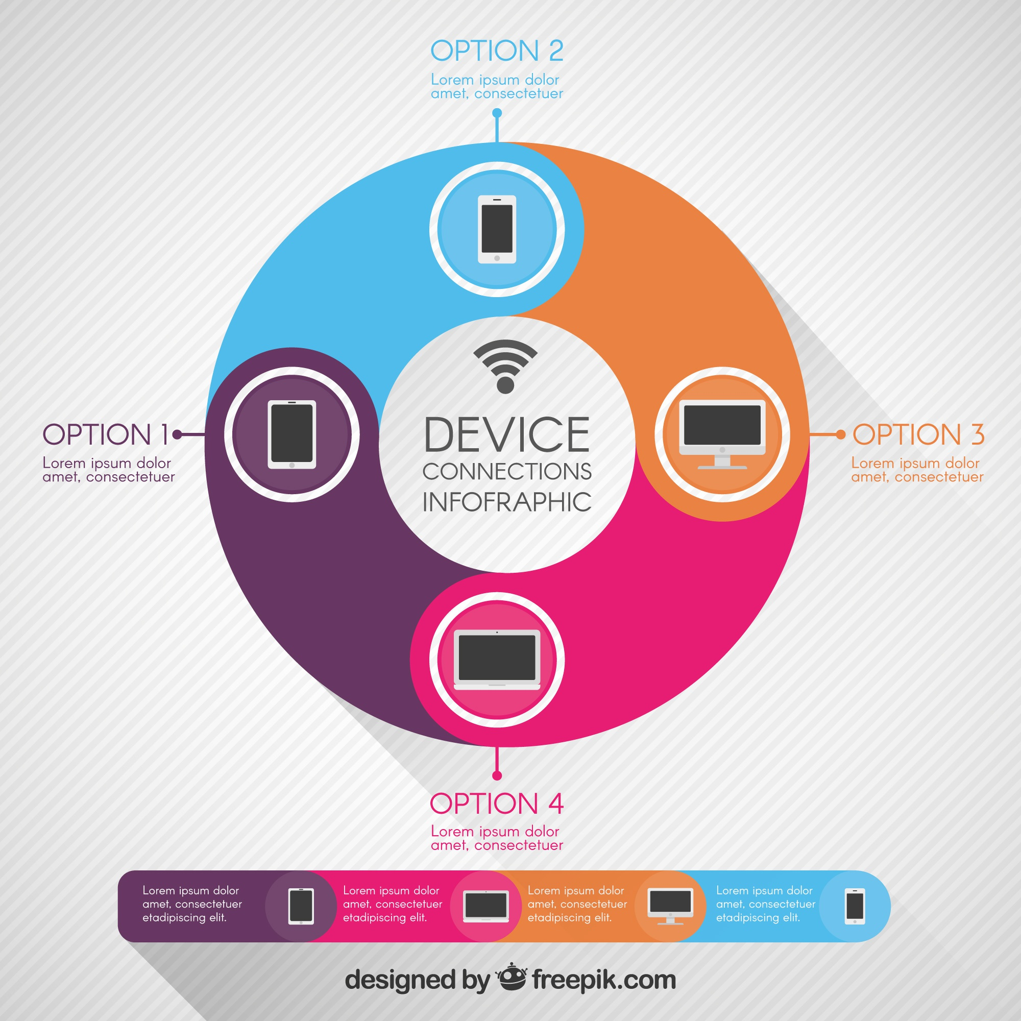 Colored infographic with different devices