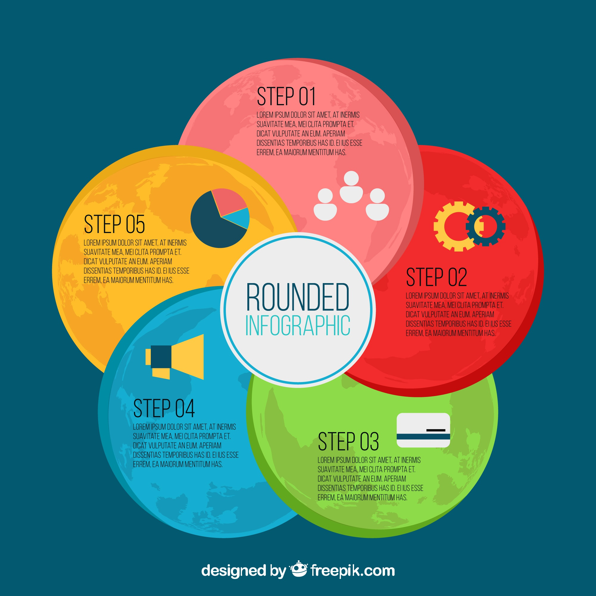 Colored infographic with round shapes