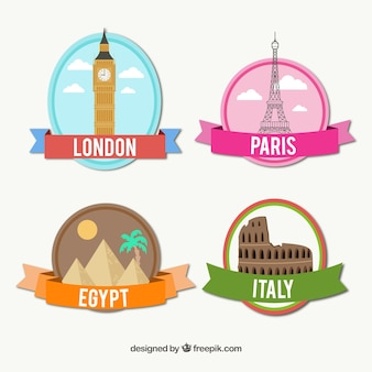 Colored international cities badges
