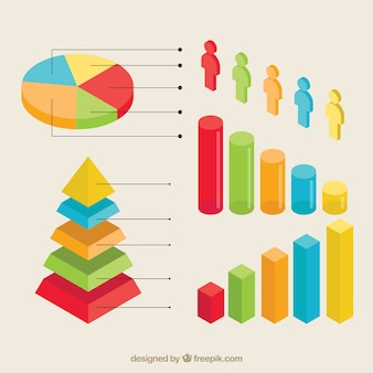 Colored isometric elements for infographics