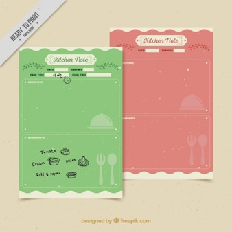 Colored kitchen notes